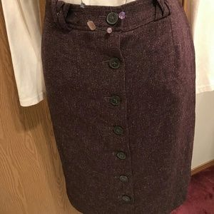 French Connection Plum Button-Front Skirt